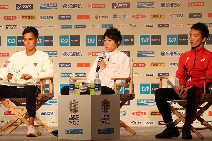 (左から)大迫傑、設楽悠太、井上大仁【写真:浜田洋平】
