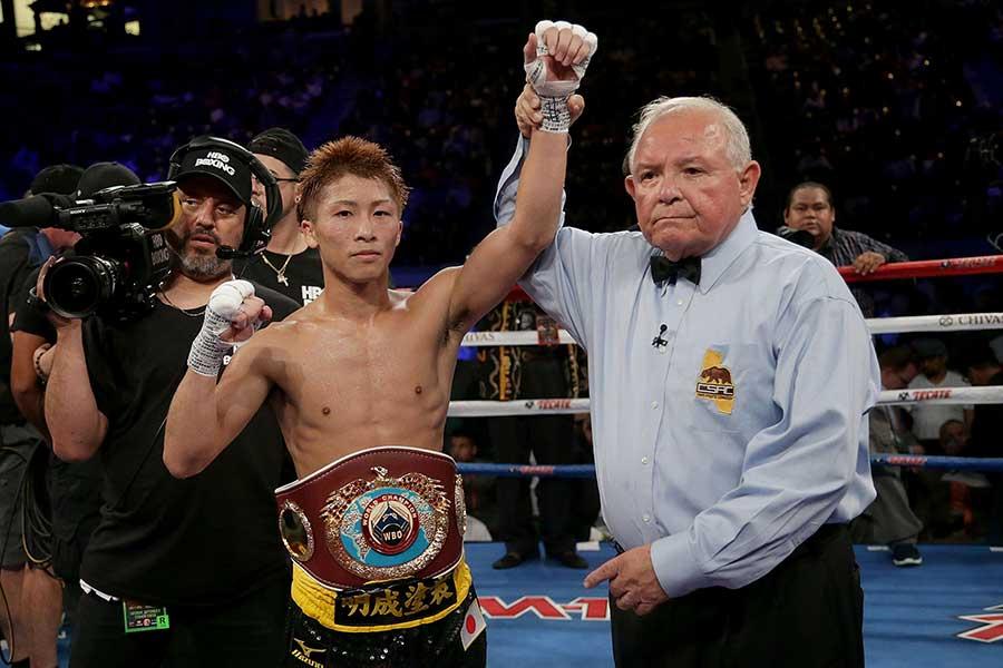 2017年9月の米国デビュー戦で、井上尚弥はアントニオ・ニエベスにTKO勝ちした【写真:Getty Images】