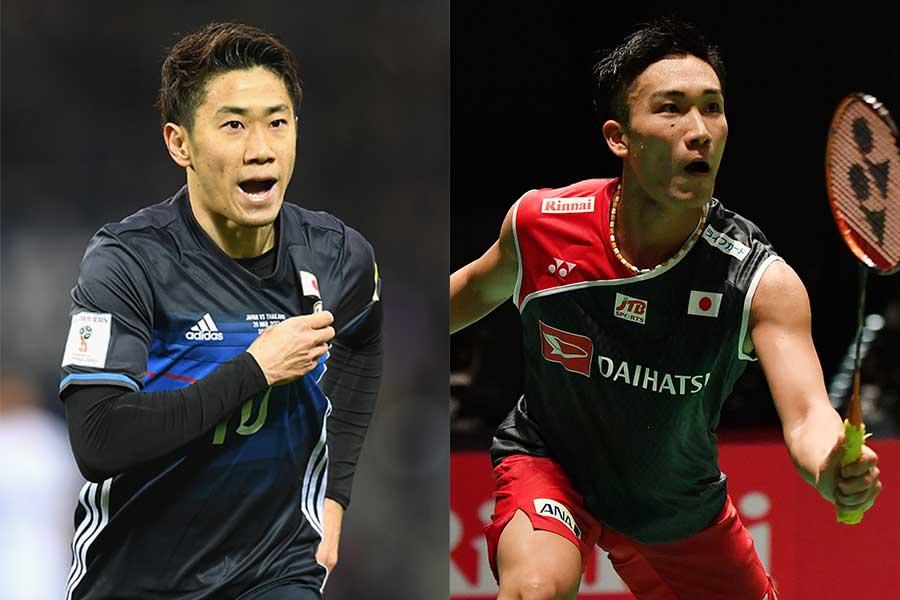 香川真司(左)と桃田賢斗【写真:Getty Images】