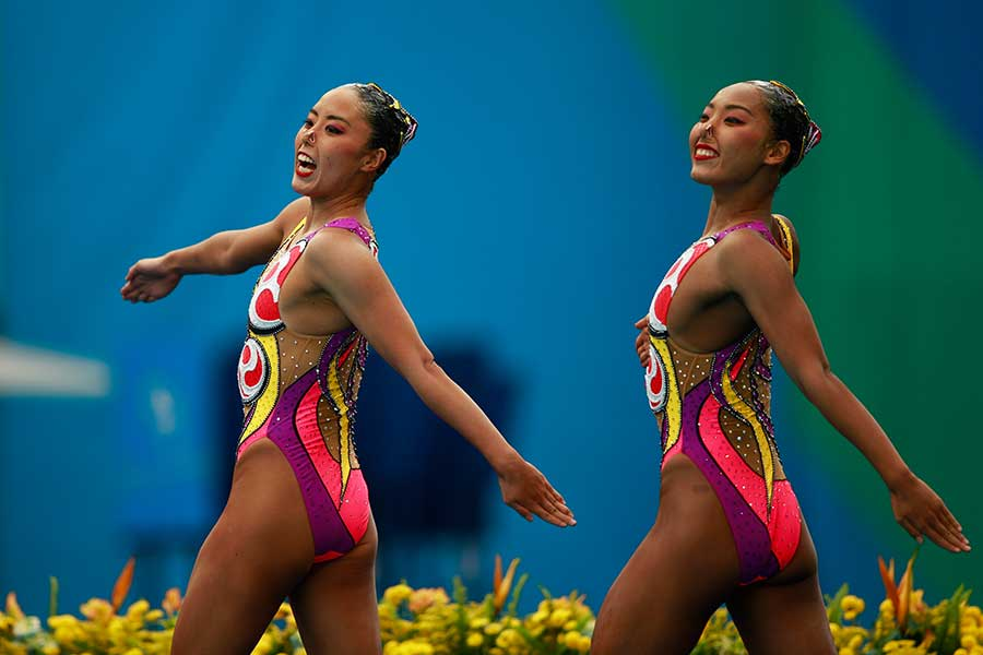 2016年のリオではデュエットとチームで銅メダルを獲得した三井梨紗子さん(右)【写真:Getty Images】
