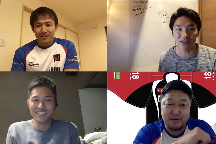 オンラインセミナーでパネリストと熱く意見交換する小野澤氏(左上)【写真提供:BUAS】