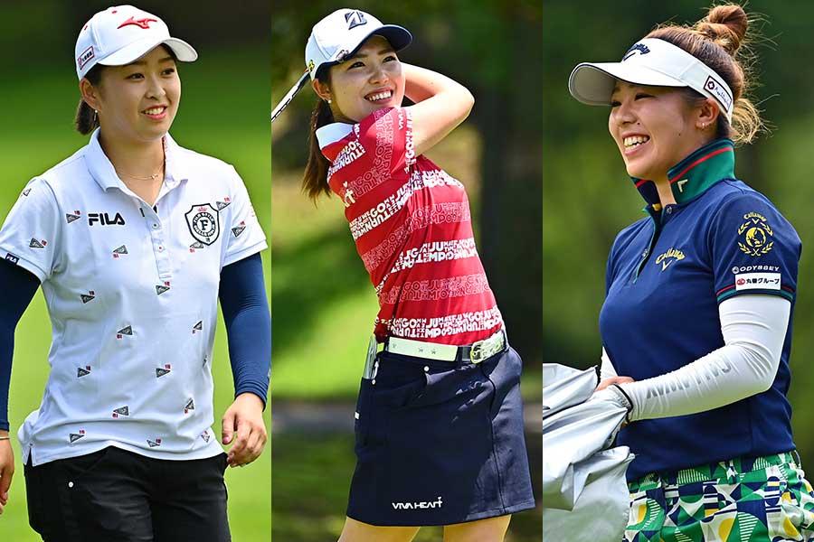(左から)西郷真央、古江彩佳、田中瑞希【写真:Getty Images】