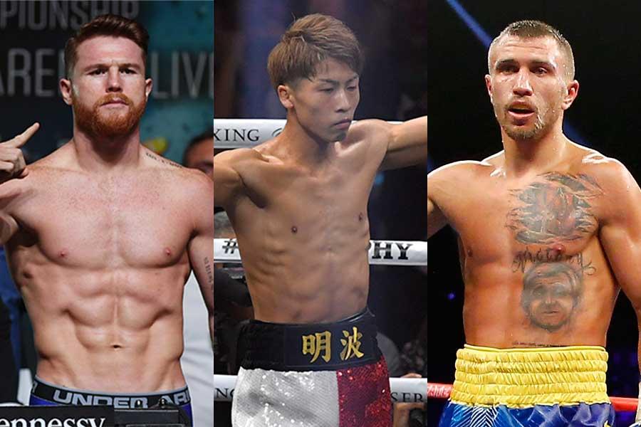 サウル・アルバレス、井上尚弥、ワシル・ロマチェンコ(左から)【写真:Getty Images】