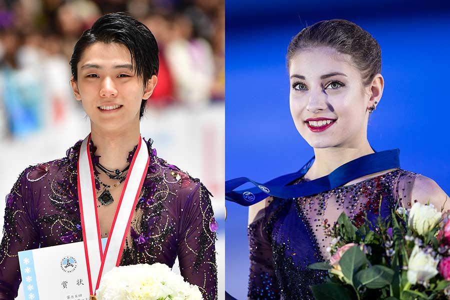羽生結弦(左)とコストルナヤ【写真:Getty Images】