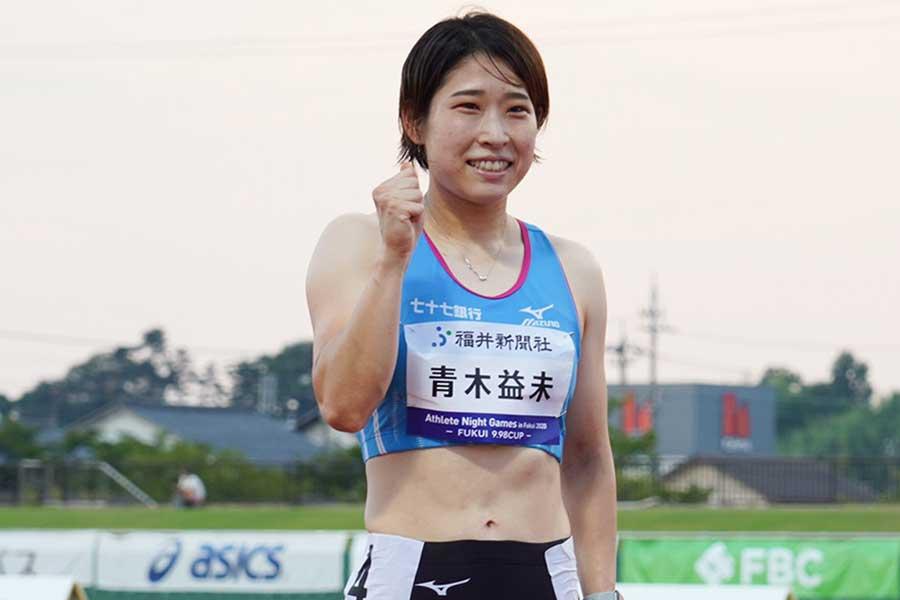 女子100メートル障害で優勝した青木益未【写真:荒川祐史】