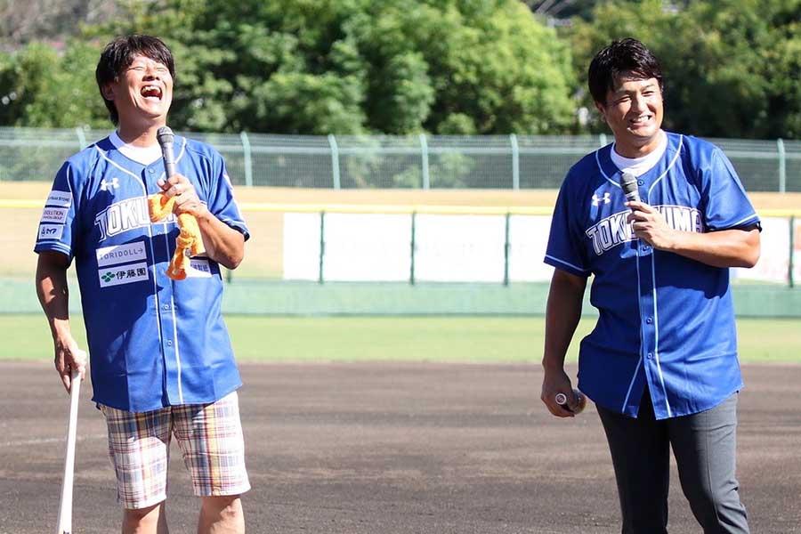 レッド吉田さん(左)とともにスペシャルシリーズに登場した高橋さん【写真:球団提供】