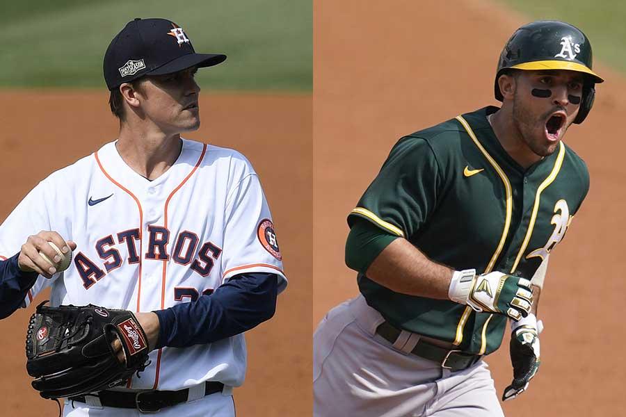 グリンキー(左)と本塁打を放ったラウレアーノ【写真:Getty Images・AP】