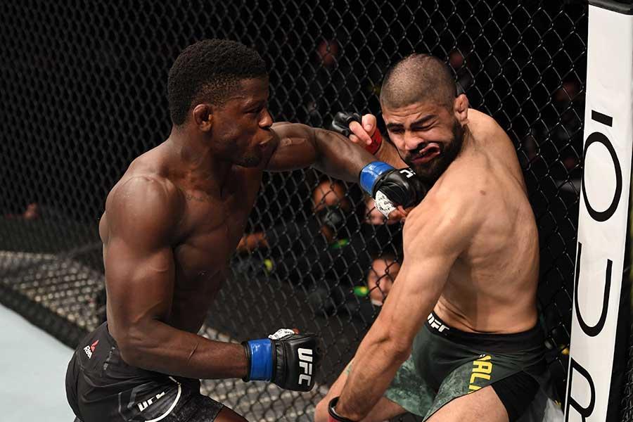 デビュー戦で初回18秒KO勝ちを収めたフィリップ・ハウズ(左)【写真:Getty Images】