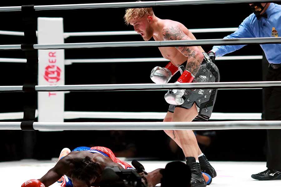 KO勝ちしたジェイク・ポール【写真:AP】