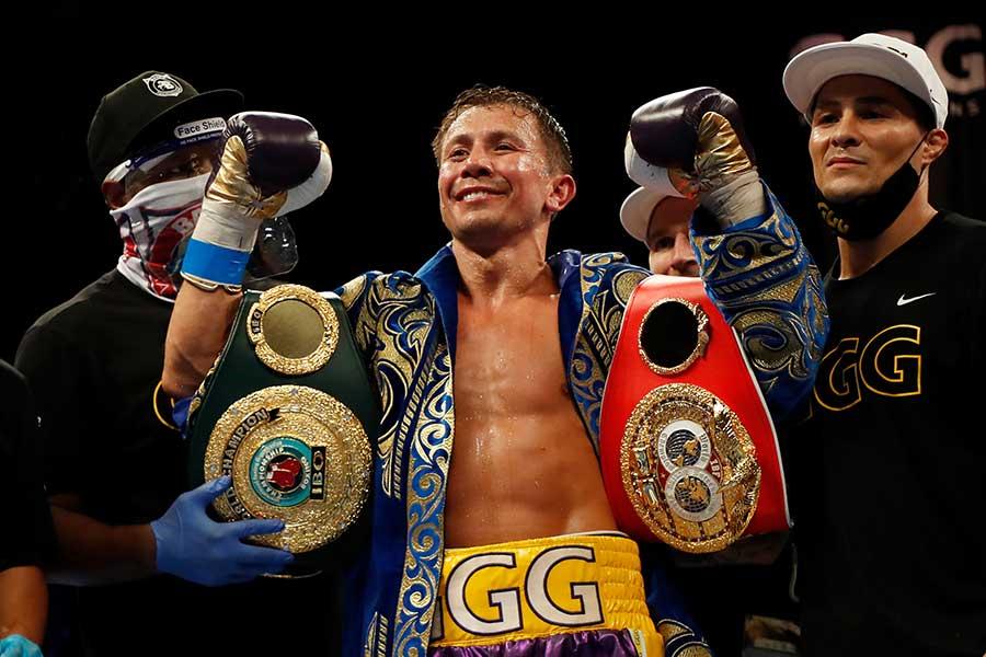 7回終了TKOで破り、通算21度目のタイトル防衛を達成したゲンナジー・ゴロフキン【写真:Getty Images】