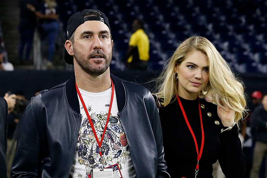 アストロズのバーランダー(左)と妻のアプトン【写真:Getty Images】