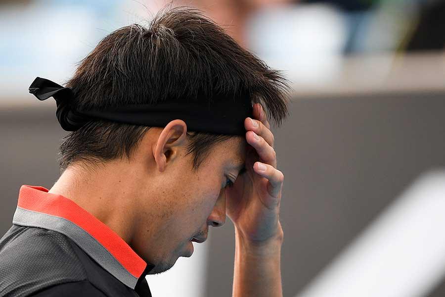 1回戦で敗退した錦織圭【写真:AP】