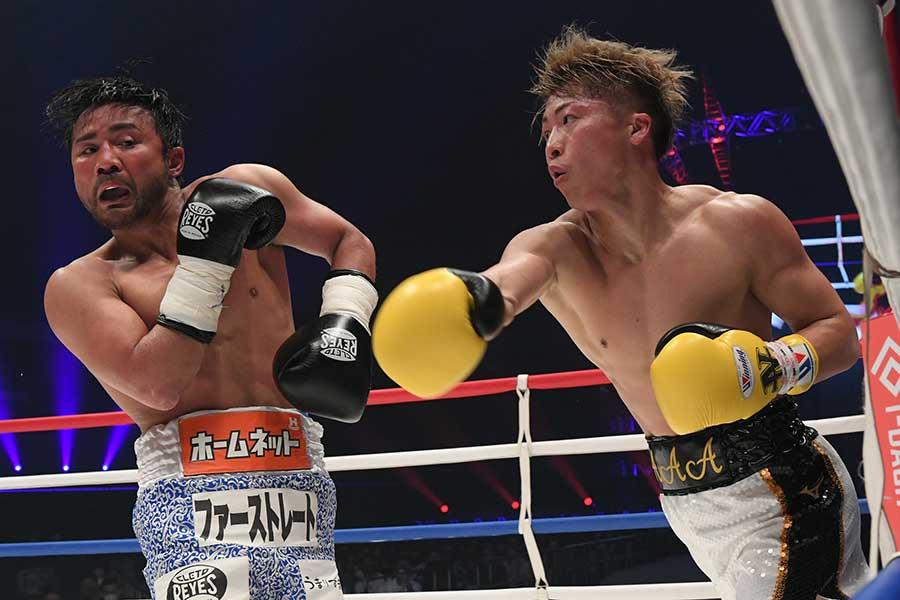ボクシングチャリティーイベント「LEGEND」に登場した井上尚弥(右)と比嘉大吾【写真提供:LEGEND実行委員会】