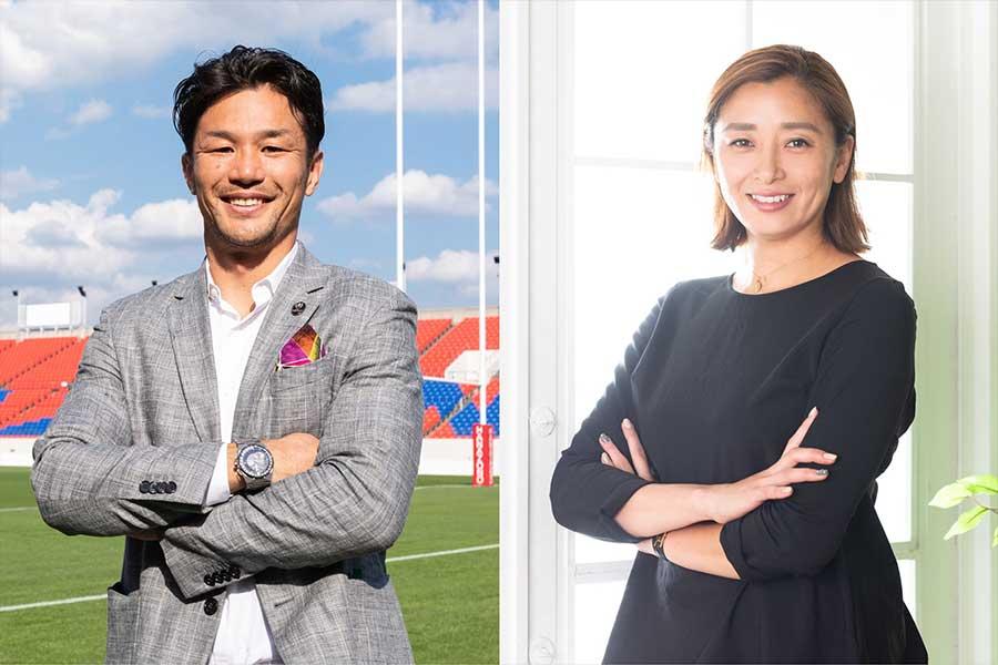 イベント第1回には廣瀬俊朗さん(左)がゲストとして、伊藤華英さんがMCとして登壇する【写真:松橋晶子】