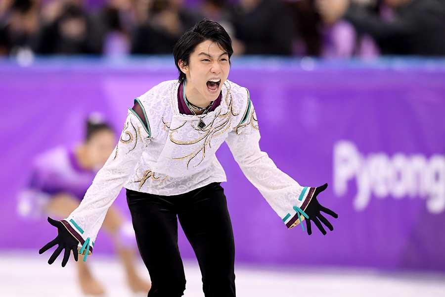 平昌五輪で金メダルを獲得した羽生結弦【写真:Getty Images】