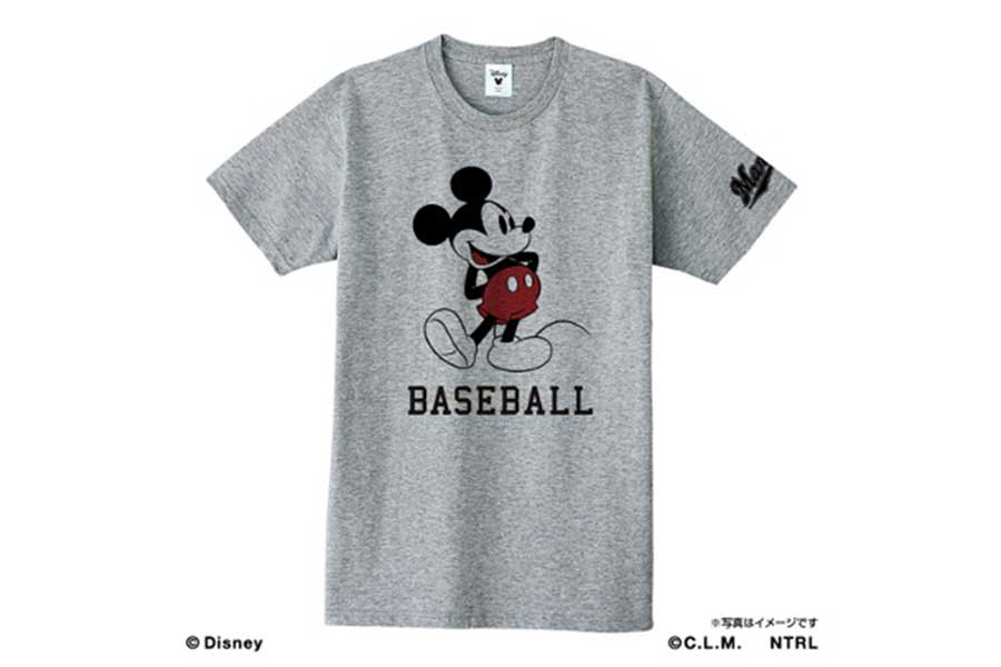ロッテが販売するミッキーマウスコラボTシャツBASEBALLデザイン【写真:球団提供】