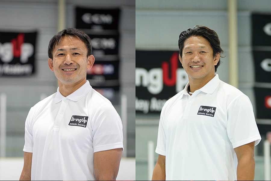 イーグルスラグビーアカデミーでコーチを務める元日本代表・小野澤宏時氏(左)と菊谷崇氏【写真提供:BUラグビーアカデミー】