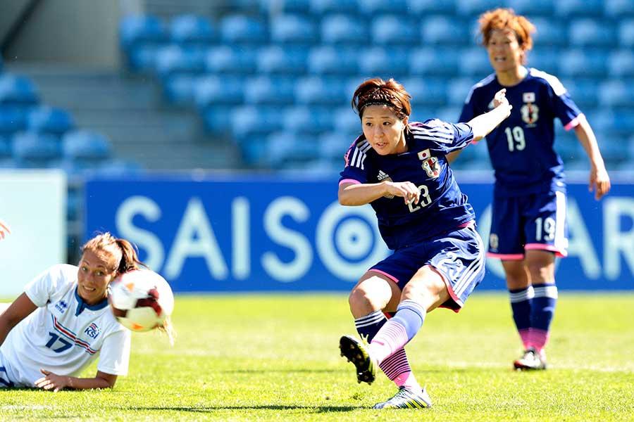 W杯に出場するなど、日本代表として活躍した永里さん【写真:Getty Images】