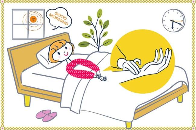 心拍数は必ず、起床時に横になったまま計ります。手首の親指の延長線上あたり(橈骨動脈)に人差し指、中指、薬指を置き、15秒間、何回脈を打ったかを数え、さらに4倍にした数が心拍数【イラスト:きくち りえ(Softdesign LLP)】