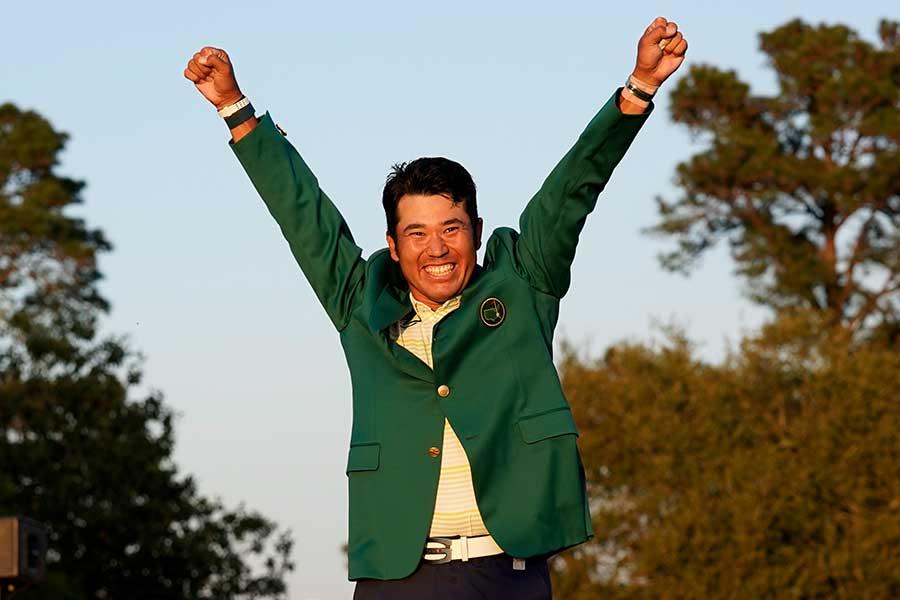 マスターズで優勝した松山英樹【写真:AP】