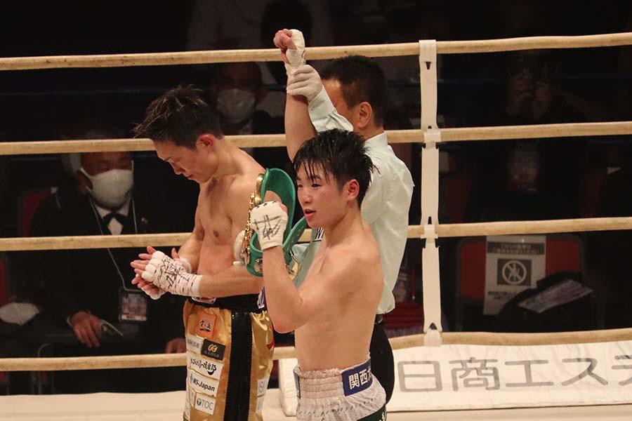 久田哲也に勝利し、寺地拳四朗がV8に成功した【写真:浜田洋平】