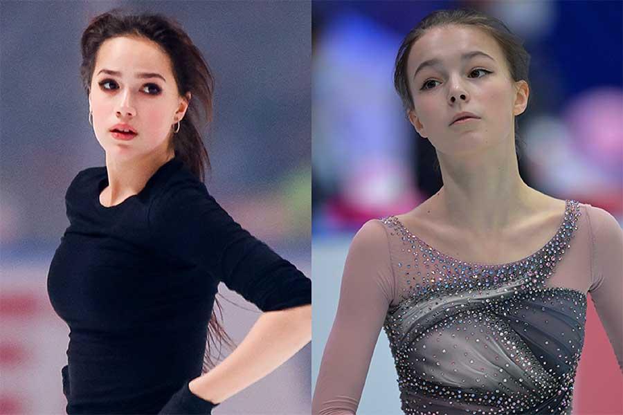 アリーナ・ザギトワ(左)とアンナ・シェルバコワ【写真:Getty Images】