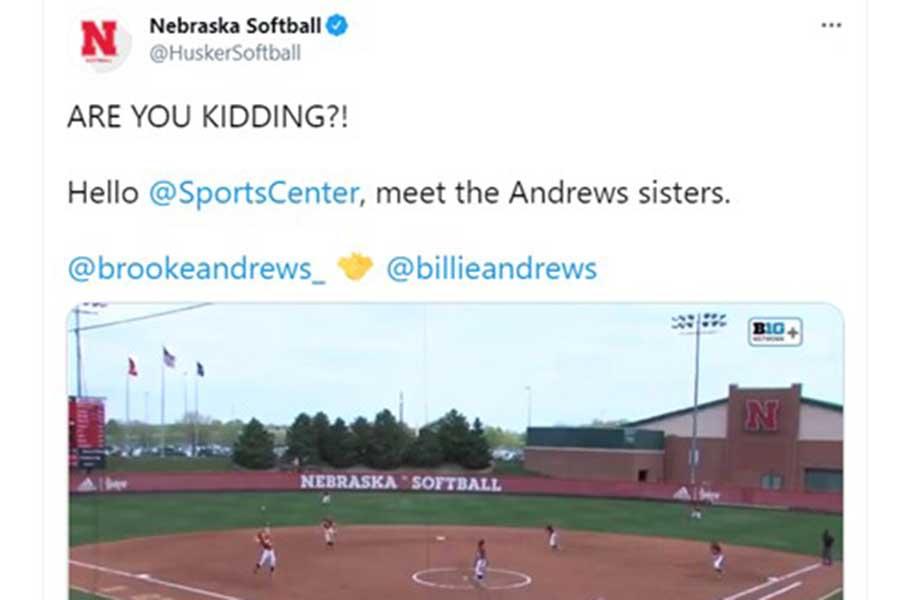 女子大生姉妹の奇跡的なコンビプレーに米ファンからは称賛が相次いだ(写真は「ネブラスカ大」公式ツイッターのスクリーンショット)