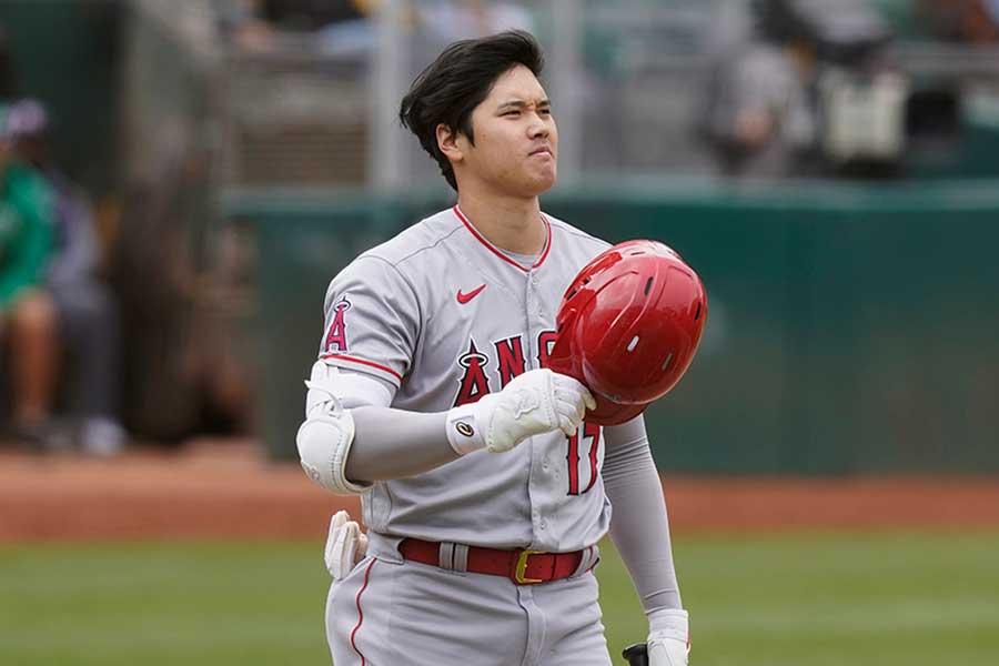 アスレチックス戦に「2番・指名打者」で先発したエンゼルスの大谷翔平【写真:AP】