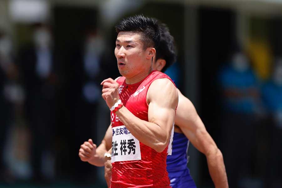 男子100メートル予選で10秒01(追い風参考.6メートル)を記録した桐生祥秀は、決勝を右アキレス腱痛で大事をとって棄権した【写真:奥井隆史】