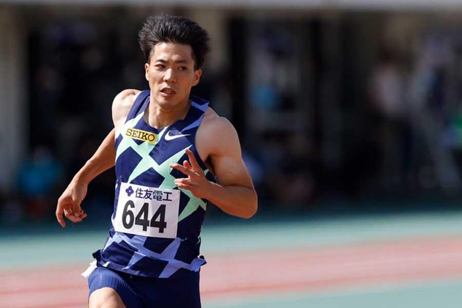 日本新の9秒95で優勝した山縣亮太【写真:奥井隆史】