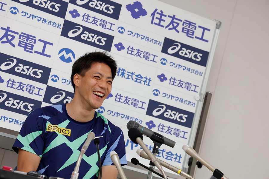 日本新記録となる9秒95で優勝した山懸亮太【写真:奥井隆史】