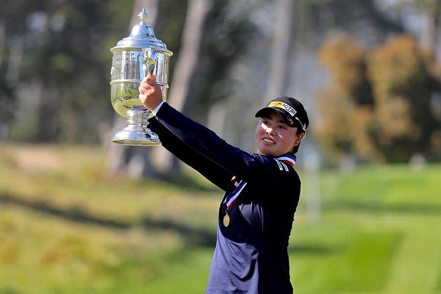 全米女子オープンで史上最年少優勝を成し遂げた笹生優花【写真:AP】