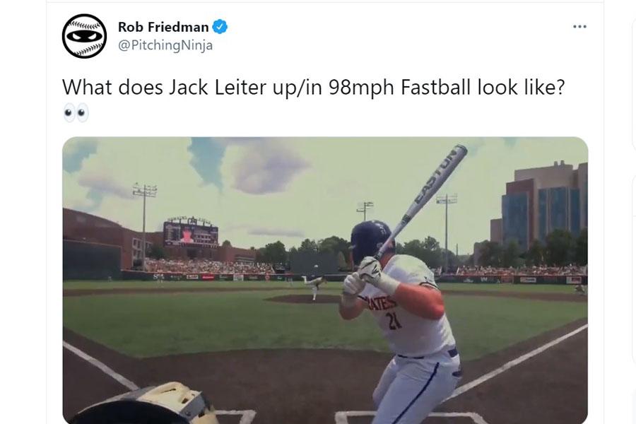 米大学野球のドラフト1位候補右腕の一球が話題を呼んでいる(画像はロブ・フリードマン氏のツイッターより)