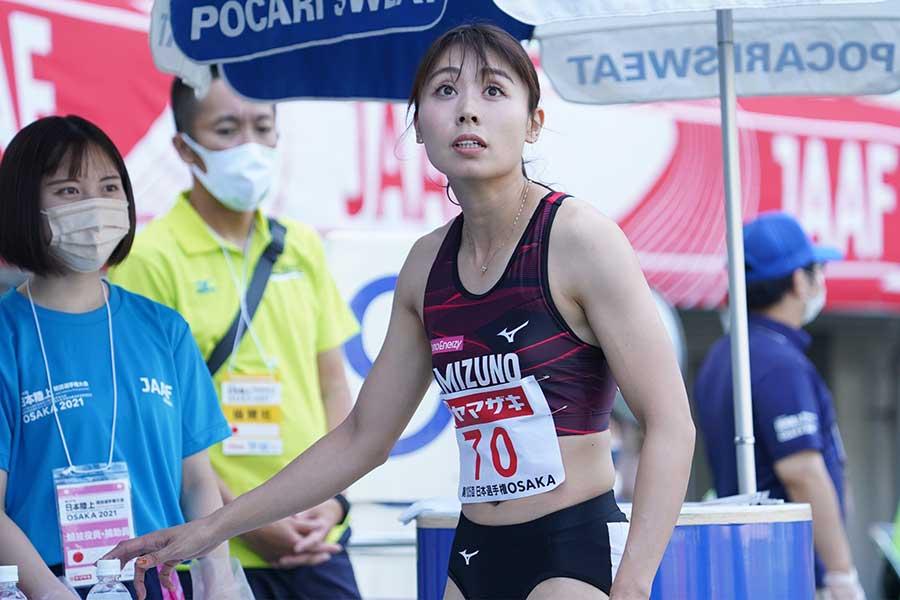 日本選手権・女子100メートル予選に臨んだ市川華菜【写真:編集部】