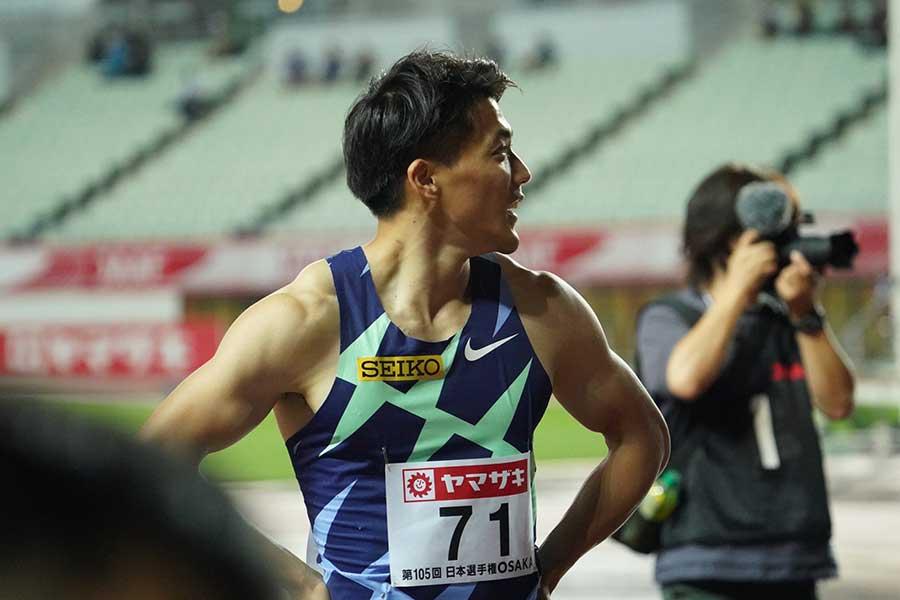 陸上・日本選手権、男子100メートル決勝で3位に入り、五輪代表を決めた山縣亮太【写真:編集部】