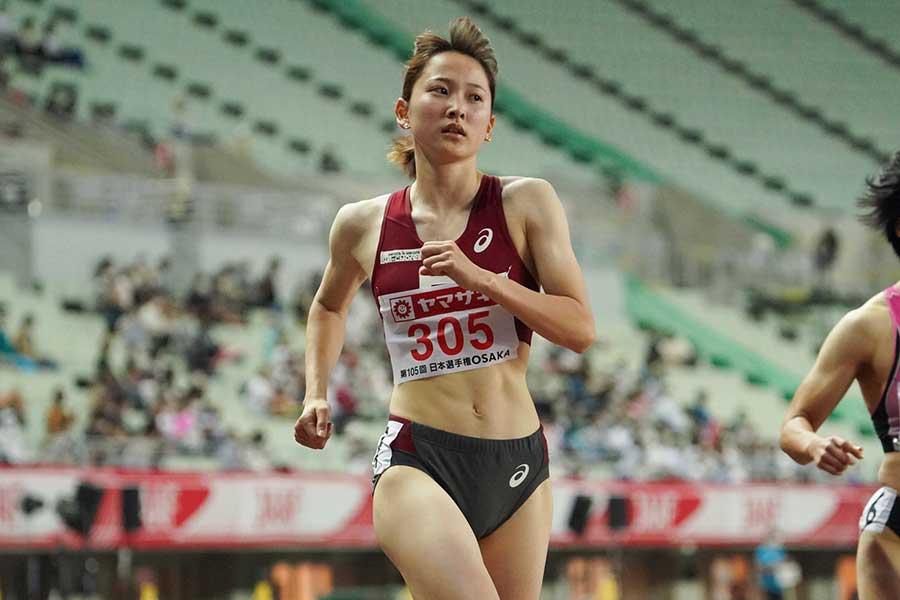 陸上・日本選手権、女子100メートルに出場した壹岐あいこ【写真:編集部】