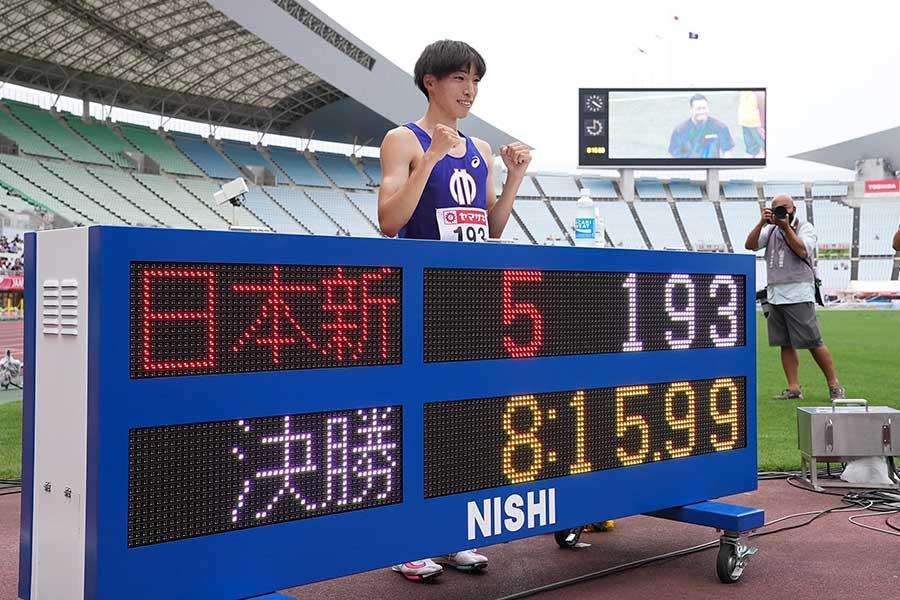 陸上・日本選手権、男子3000メートル障害で日本記録を更新した三浦龍司【写真:編集部】