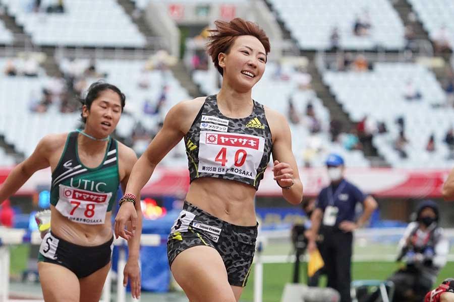 陸上・日本選手権、女子100メートル障害で優勝した寺田明日香【写真:編集部】