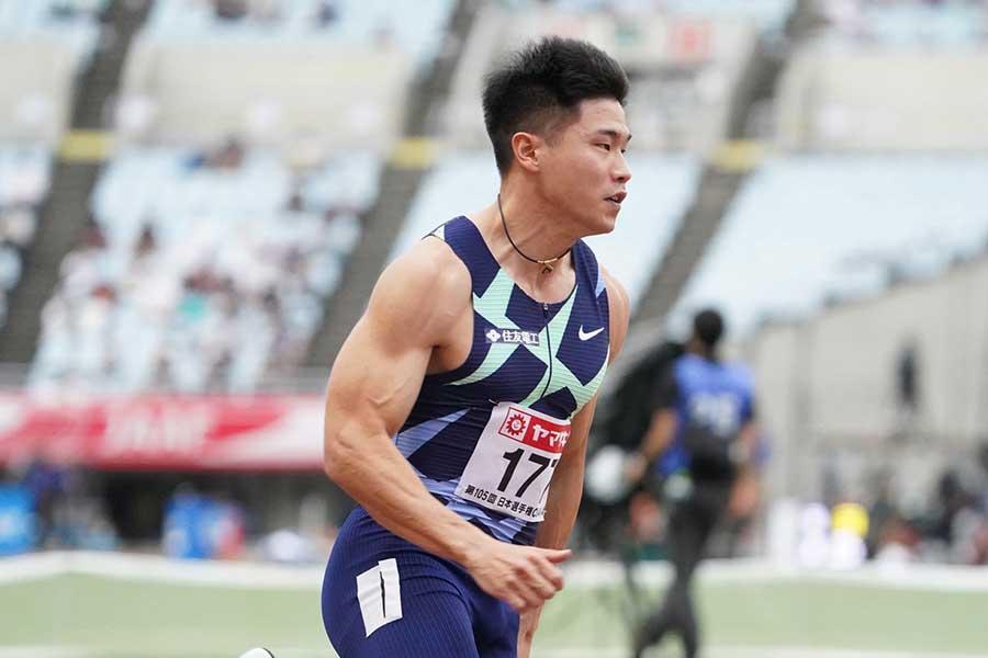 男子200メートル予選、全体2番手の20秒72で決勝に進出した小池祐貴【写真:編集部】