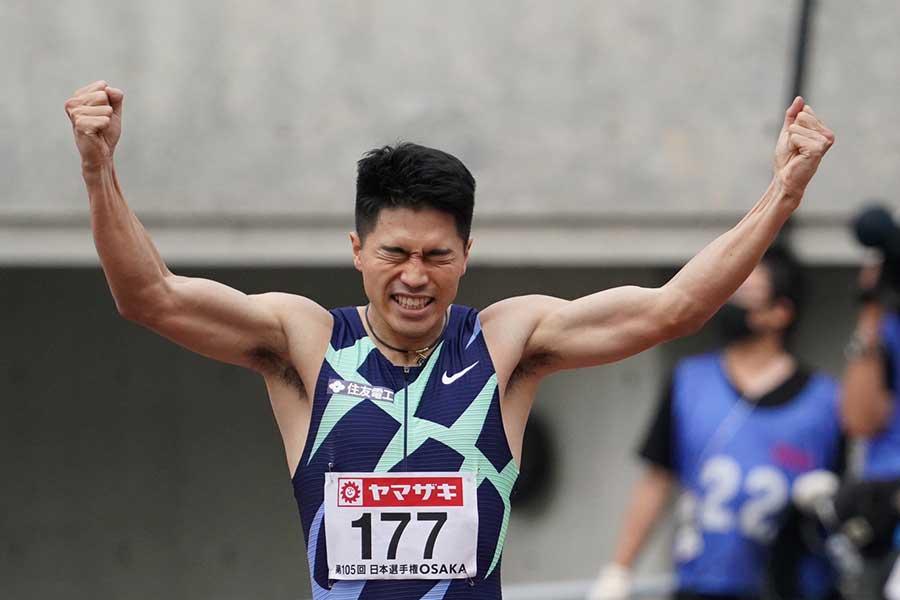 男子200メートル決勝で20秒46で優勝した小池祐貴【写真:編集部】