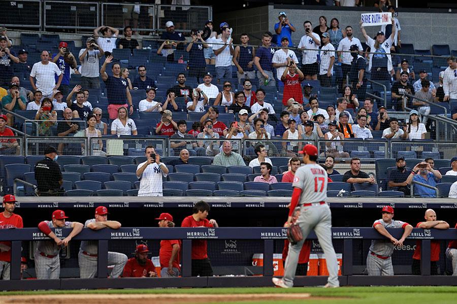 ヤンキース戦に先発するも、初回で降板したエンゼルスの大谷翔平【写真:AP】
