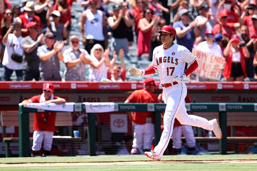 3回の第2打席で日本人シーズン最多本塁打に並ぶ、31号ソロを放ったエンゼルスの大谷翔平【写真:Getty Images】