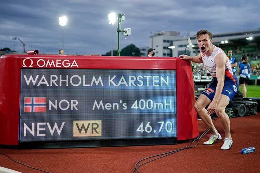 男子400メートル障害で世界新記録を樹立したカールステン・ワーホルム【写真:AP】