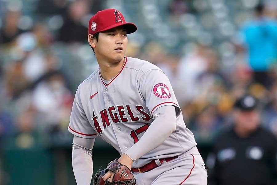 アスレチックス戦に「2番・投手」で先発したエンゼルスの大谷翔平【写真:AP】