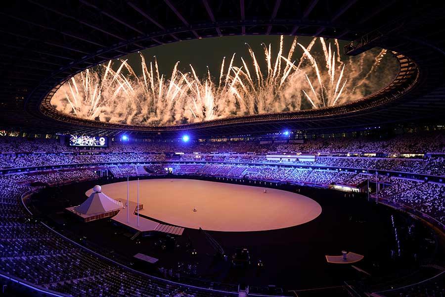 東京五輪の開会式が行われた国立競技場【写真:AP】