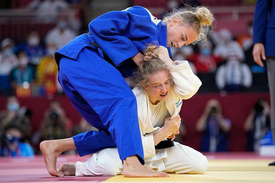 東京五輪柔道女子48キロ級で銅メダルを獲得したダリア・ビロディド【写真:AP】