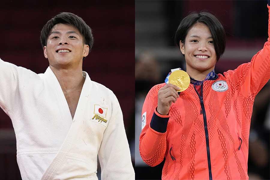 柔道の男子66キロ級で金メダルを獲得した阿部一二三と女子52キロ級で金メダルを獲得した妹の詩【写真:AP】