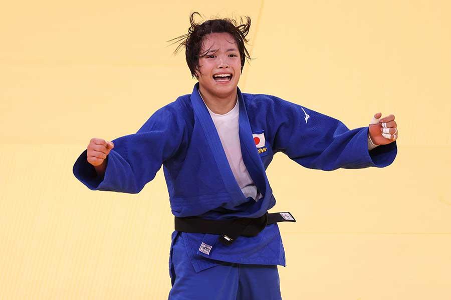 柔道の女子52キロで金メダルを獲得した阿部詩【写真:Getty Images】