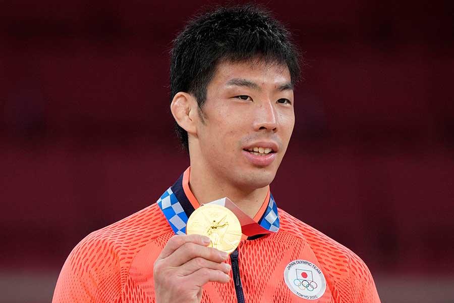 柔道男子81キロ級で金メダルを獲得した永瀬貴規【写真:AP】
