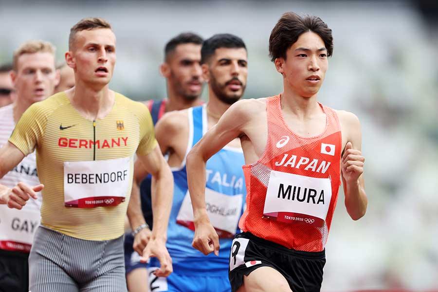 男子3000メートル障害で日本新記録を記録し、組2着で決勝進出した三浦龍司【写真:Getty Images】